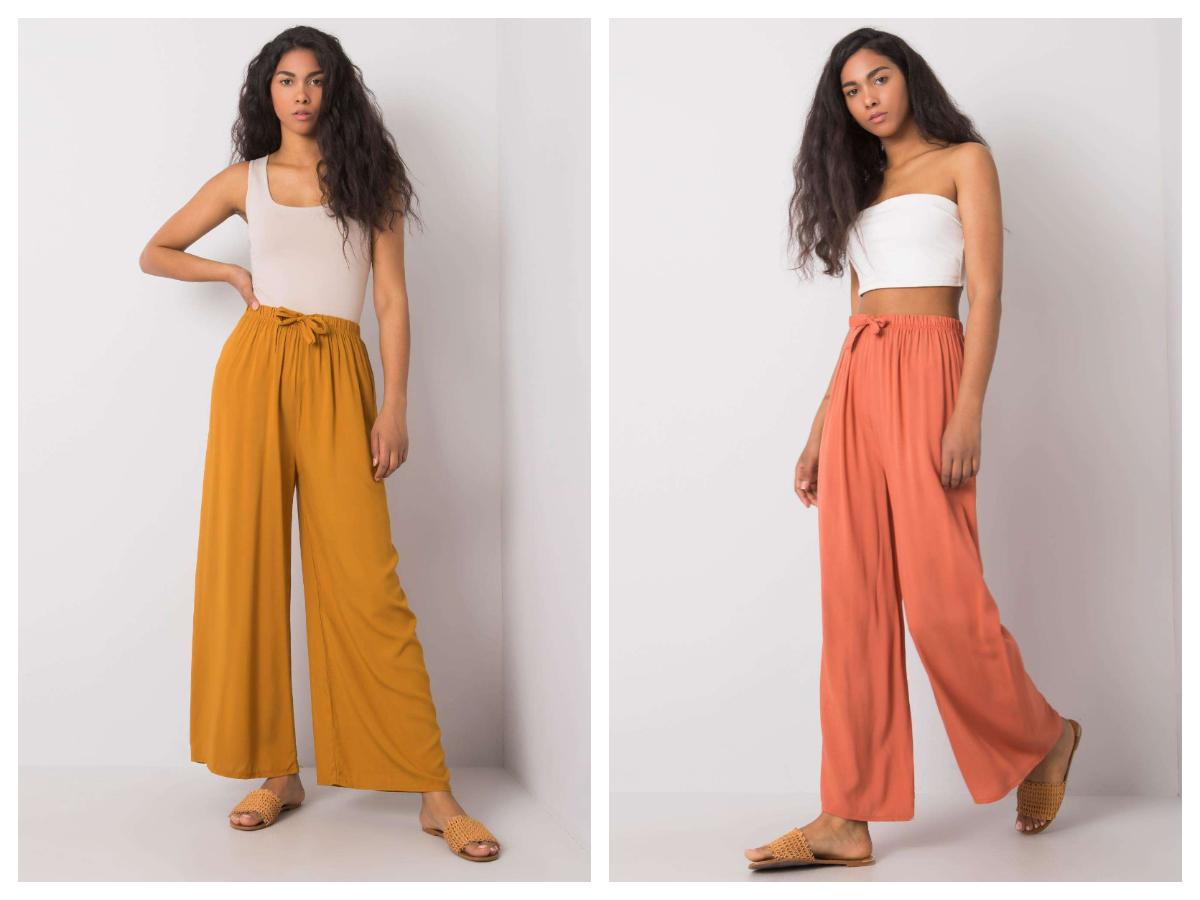 Широкі штани гірчичного та оранжевого кольору на зав'язку